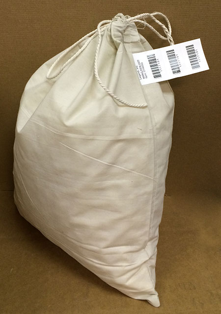 "15"" x 19"" Heavy Duty Cloth Bag w/4 part barcode tag"