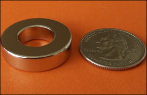 "Rare Earth Neodymium Ring Magnet 1""OD (12.5 lbs pull)"