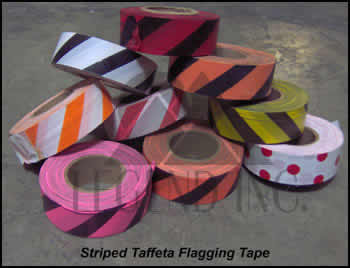 Taffeta Black & White Stripe Flagging Tape