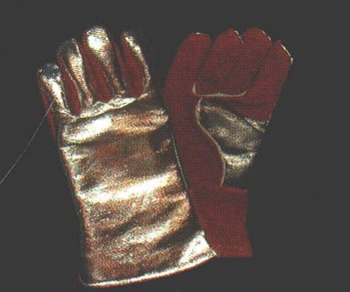 "14"" Leather Glove with Aluminized Carbon Kevlar Back"
