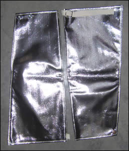Aluminized Sleeves 18 in long - Wrist Snap & Arm Strap