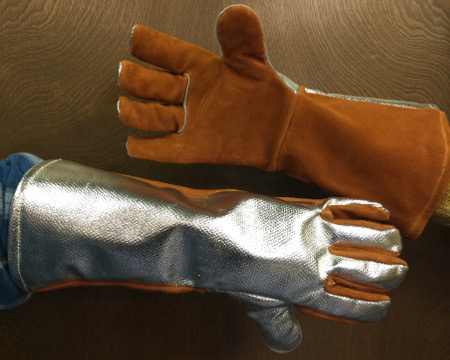 "18"" Leather Glove with Aluminized Back"