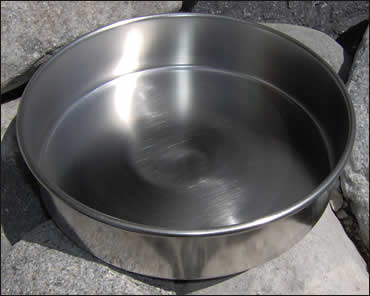 "3"" SS Sieve Bottom Pan with Skirt / Rim"