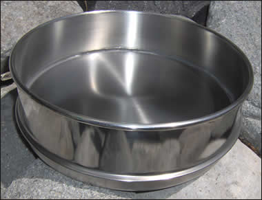 "8"" SS Sieve Bottom Pan with Skirt/Rim Half Height"
