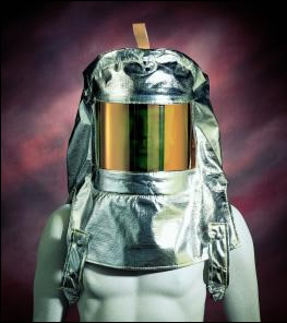 Oberon PBI / Kevlar HR Aluminized Hood - Clear Gold Window & Ratchet Headgear
