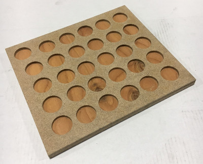 "30 place Button Tray, Wood, 1-1/2"" depressions"